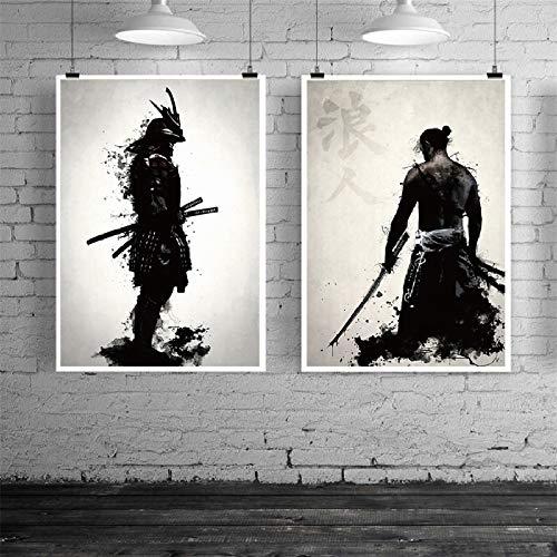 mmzki Samurai japones Lienzo Pintura al oleo Moderna Pared Arte Cuadros Lienzo impresion para Sala de Estar HD decoracion del hogar Carteles e Impresiones 2 Piezas