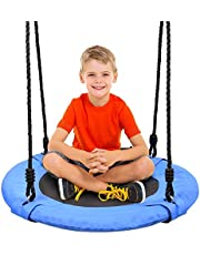 Odoland 24 inch Chidren Tree Swing Net Swing Outdoor Kid Platform Swing with Detachable 600LB Weight Load Oxford Fabric and Adjustable Hanging Ropes for Tree, Backyard and Indoor