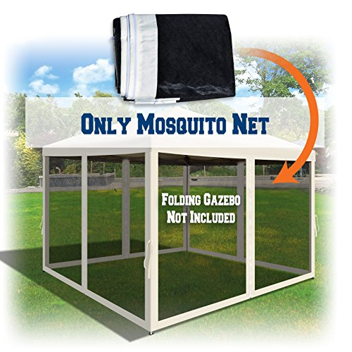 BenefitUSA Replacement Mosquito Netting for 10' x 10' or 8' x 8' Gazebo, Zippered Mesh Sidewalls Only, Pack of 4 (10' L X 6.4' W for 10' x 10' Gazebo, Ecru)