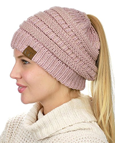 C.C BeanieTail Soft Stretch Cable Knit Messy High Bun Ponytail Beanie Hat, Rose Metallic