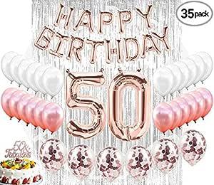 زينة عيد الميلاد الخمسين للحفلات 50 لافتة تزيين الكعك بلون ذهبي وردي بالونات لها ستائر فضية مع دعامات خلفية صور 50 يوم