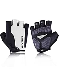 RIVBOS Bike Gloves Cycling Gloves Fingerless for Men Women with Foam Padding Breathable Mesh Fashion Design for Mountain Bicycle Riding CHG002(White L)