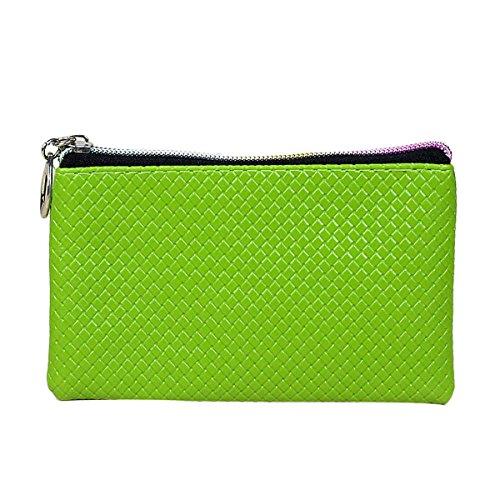 Women Bowknot Long Purse Button Wallet Clutch Hand Bag (Green) - 6