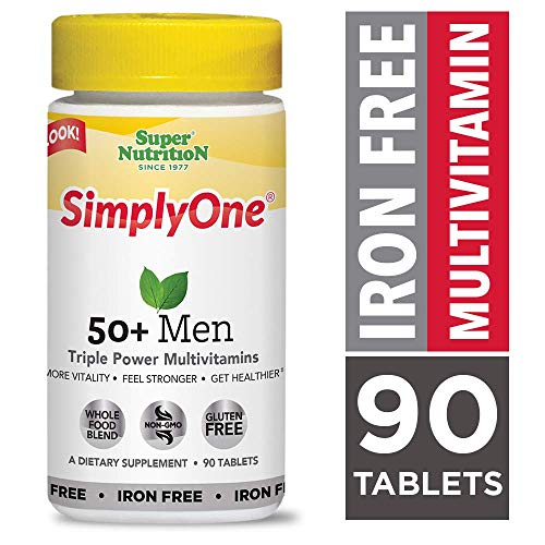 SimplyOne Multivitamin for Men 50+, Iron Free, Daily All-In-One Vitamin by SuperNutrition, 90 Day Supply; Best Value Pack