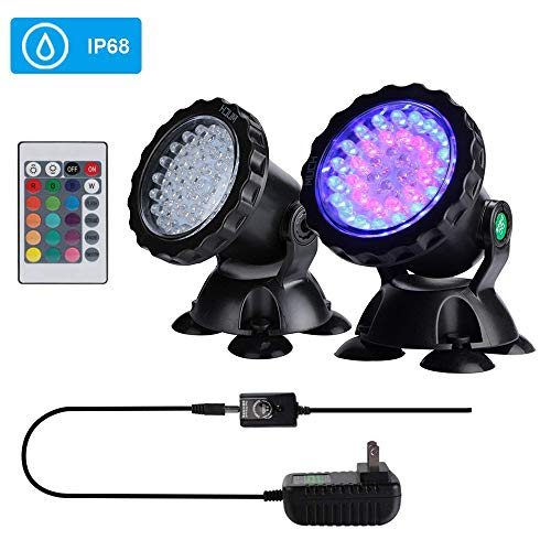 (Submersible Spotlight,IP68 Waterproof Underwater Pond Lights with Remote Control,36-LED Multi-color Landscape Decor Submersible Aquarium Lamp for Lawn Garden Fountain Swimming Pond Lights (Set of 2))