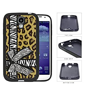 Brown Cheetah Leopard Background Pattern with Zebra Bow Tied Around Background Hard Rubber TPU Phone Case Cover Samsung Galaxy S4 I9500