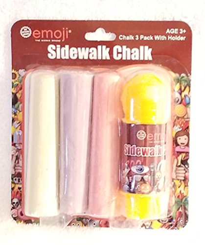 Sidewalk Chalk Emoji 4 Piece Chalk Set - 1 Chalk Holder & 3 Pieces of Colorful Jumbo Chalk
