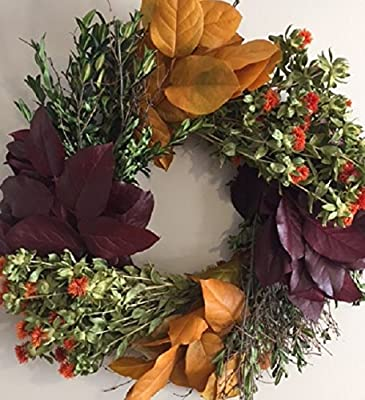 Tres Chic Autumn Dried Herb Wreath Fall Thanksgiving Decorating for Front Door Home or Kitchen Decor
