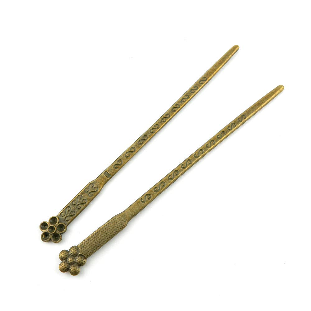 Price per 110 Pieces Antique Bronze Tone Jewelry Charms Findings Arts Crafts Beading Making Charmes A1FQ1E Plum Flower Hairpin Head Pins