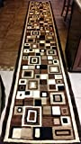 Modern Long Runner Area Rug Brown Americana Design 125(32 inches X15 feet 10 inches )