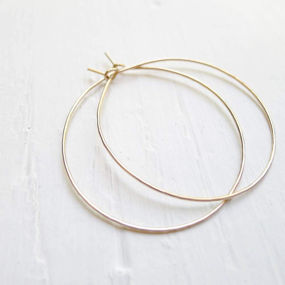 Hammered Gold Filled Wire Hoops