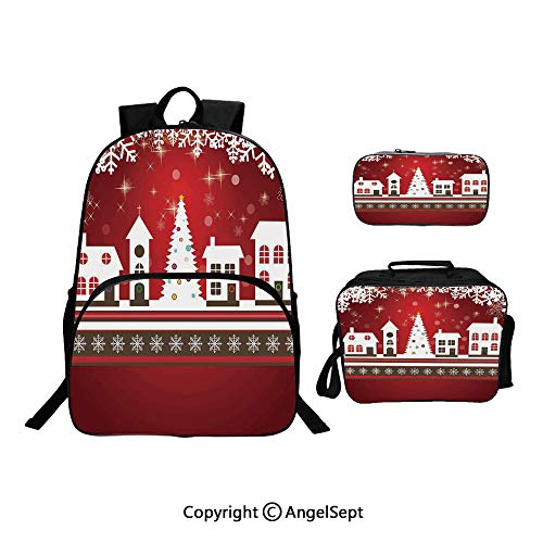 Hot Sale School Backpack For Girls 3 pcs per set,Winter Holidays Theme Gingerbread House Tree Lights and Snowflakes Art Red White,With Lunch Box Pencil Bag Very Convinent