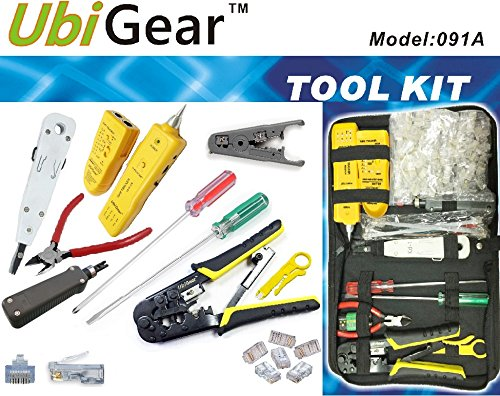 UbiGear Cable Finder Toner Probe Tester + Crimp Crimper + 50 Pcs RJ45 CAT5e Pas-Through Connector Plug Network Tool Kits (PremiumTester)