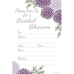 Purple Floral Bridal Shower Invitations - Fill In Style (20 Count) With Envelopes