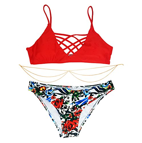 Ldoux Bikini Set Swimwear Bathing Suit Floral Print Crisscross with Body (Chain Floral Cross)