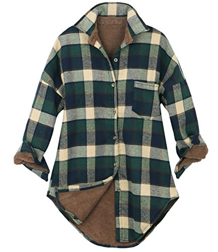 ililily Women Checkered Plaid Sherpa Lined Flannel Long Shirt Trucker Jacket (Medium, Green Beige Plaid)