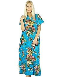 Bimba Women Long Cotton Custom Kaftan Blue Floral Night Wear Classic Caftan Dress