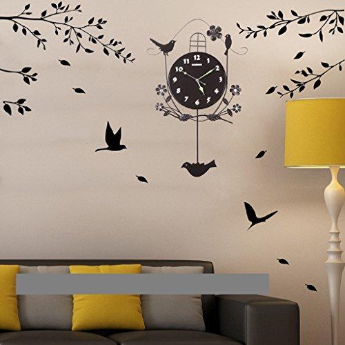 AIDELAI Reloj de Pared Reloj de Pared Luminosa Sala de Estar Moderna Creativa del Reloj de Pared de Silencio Oscilación del...