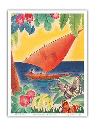 Tropical Flowers, Sailboat and Butterflies - Moore-McCormack Lines - Vintage Ocean Liner Menu Cover by C. A. Rosser c.1949 - Master Art Print - 9in x 12in (Vintage 1949 Print)
