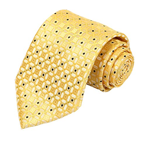 KissTies Lucky Coin Necktie Black Dot Gold Yellow Wedding Tie + Gift - Gold Necktie