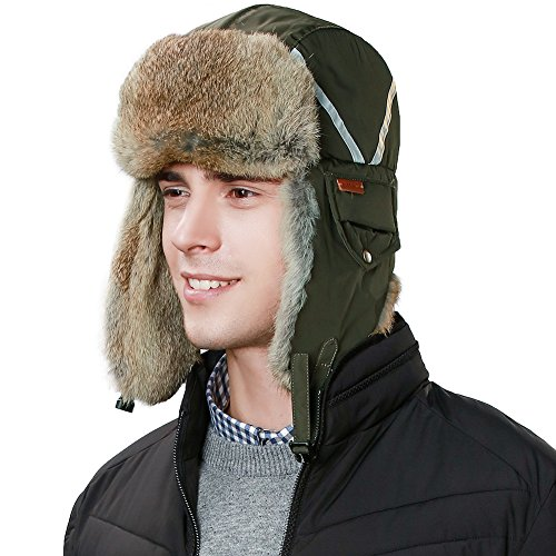 Fur Trapper (Siggi 100% Real Fur Trapper Hat Aviator Earflap Hat Winter Pilot Soviet Russian Ushanka Hat Windproof Mask Men Ladies)