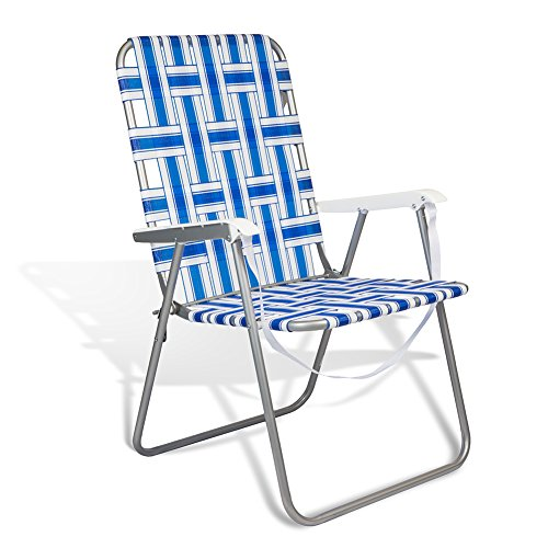 Beach and Camping & Classic Vintage Lawn Sturdy Folding Web Steel Chair One Position by Copa (C2W II)