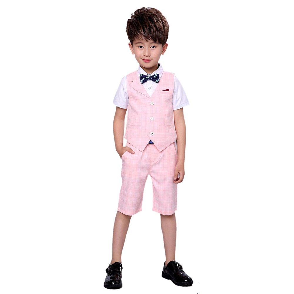 Uwback Boys Summer Plaid Suit 2 Pieces Vest and Pants Pink CN 130