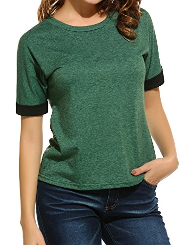 Meaneor Women's Casual Scoop Neck Roll Over Short Sleeve Solid Loose T-Shirt Blouse Green 2 XXL