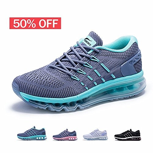 Onemix Womens Air Running Shoes,Sloping Tongue Sneakers,Grey/Green,Size 8