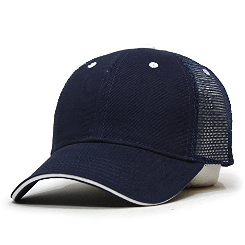 (Vintage Year Brushed Denim Sandwich Visor Mesh Adjustable Baseball Cap (Navy/Navy/White))