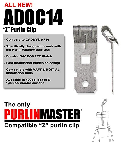 Z-Purlin Clips For Angled Flanges 1/8'' - 1/4'' Thick (Box of 100) ~ ADOC14