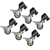 Neewer 6 Packs Professional Swivel Caster Wheel Set - Durable Metal Construction with Rubber Base for Light Stand with 16-22mm Diameter Leg, Suitable for Studio Video Photography