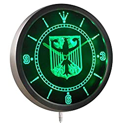 Time2LightUp German Eagle Flag 10 Inches Round LED Neon Wall Clock Green