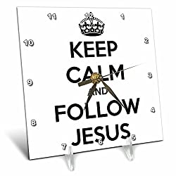 3dRose dc_173385_1 Keep Calm and Follow Jesus. White and Black-Desk Clock, 6 by 6-Inch