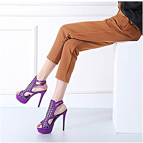 YFF Donna Sandali Casual in similpelle Stiletto Heel fibbia di strass,viola,US7.5