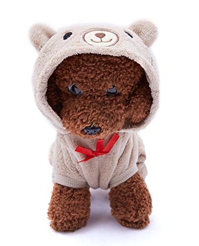 (OSPet Dog Hoodie Puppy Coat Pet Warm Red Heart Bear Outfit for Small Dog Brown)