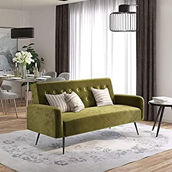 Amazon Com Dhp Ivana Tufted Futon Green Velvet Kitchen