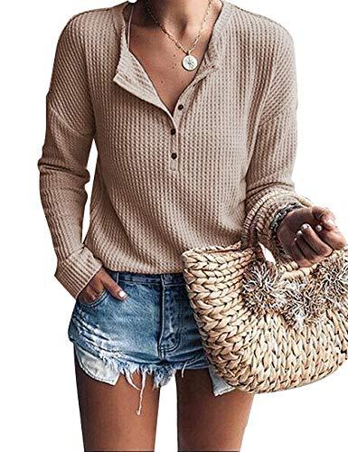 ACKKIA Women's Casual Drop Shoulder Henley Shirt Waffle Knit Tunic Sweater Tops Boto Pink Size M
