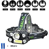 Headlamp, WEILIPU Brightest 6-Mode LED Headlamp, USB Rechargeable Headlamp Flashlight - 8000 lumens waterproof and comfortable headlamp 6-light super bright outdoor camping hunting fishing headlamp