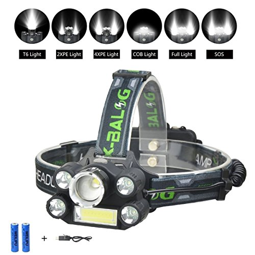 WEILIPU Headlamp, Brightest 6-Mode LED Headlamp, USB Rechargeable Headlamp Flashlight – 8000 lumens waterproof and comfortable headlamp 6-light super bright outdoor camping hunting fishing headlamp