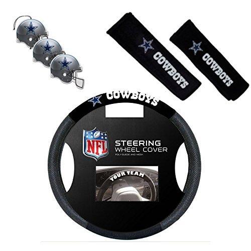 Official National Football League Fan Shop Authentic Auto Accessories Bundle (Dallas (Fur Freshener)
