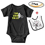 KAYERDELLE is My Bike Okay Babys Boy's & Girl's Short Sleeve Bodysuit Baby Onesie for 3-24 Months and Baby Bib