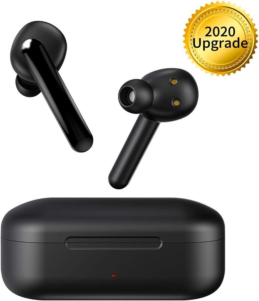 Auriculares Bluetooth, Chaobai Blutooth 5.0 EDR Earbuds Mini en la Oreja Auriculares 5H Playtime con Micrófono, Función Táctil, Estuche de Carga Portátil para iPhone iPad Android, Teléfonos, etc.