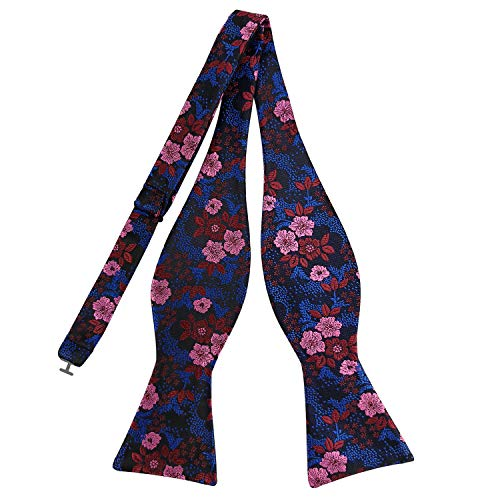 (Pensee Mens Self Bow Tie Multi-color Floral Jacquard Woven Silk Bow)