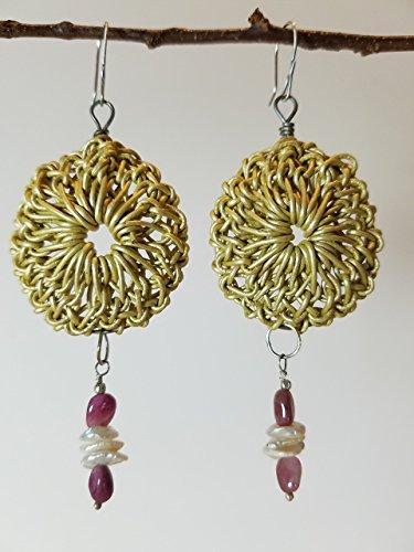 Pale Celery Green Leather Rosette Earrings on Titanium Hoops with Keishi Pearls, Pink Tourmalines & Sterling on Sterling Silver Earwires - 100% Handmade