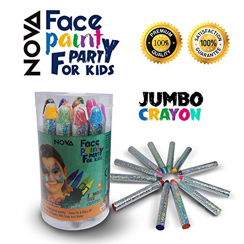 Face Paint Crayons Kit for Kids Adults - NOVA- JUMBO Set-12 Eco-Friendly safe Non-Toxic Crayon Sticks – Fun For All Ages, Stage Makeup to Body Art, Neon Black Red Orange (Boy Face Paint Halloween)