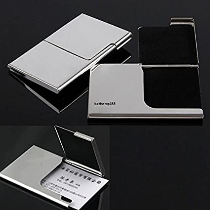 Amazon card holder stainless steel pocket business name credit card holder stainless steel pocket business name credit id card holder box metal box case business reheart Images