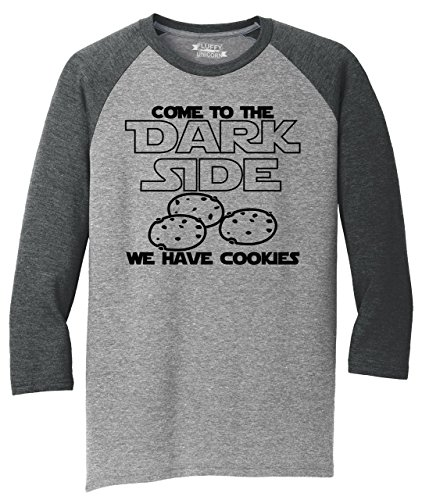 Mens 3/4 Triblend Come to Dark Side We Have Cookies Funny Tee Nerd Gamer Gift Tee Black Frost/Grey Frost 4XL
