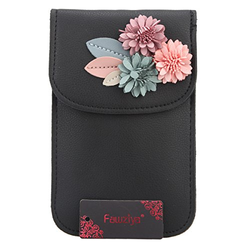 Phone Wallet Leather PU Black Bags Clutch Women Evening Bag For Fawziya Mobile And Clutches Flower x8va7