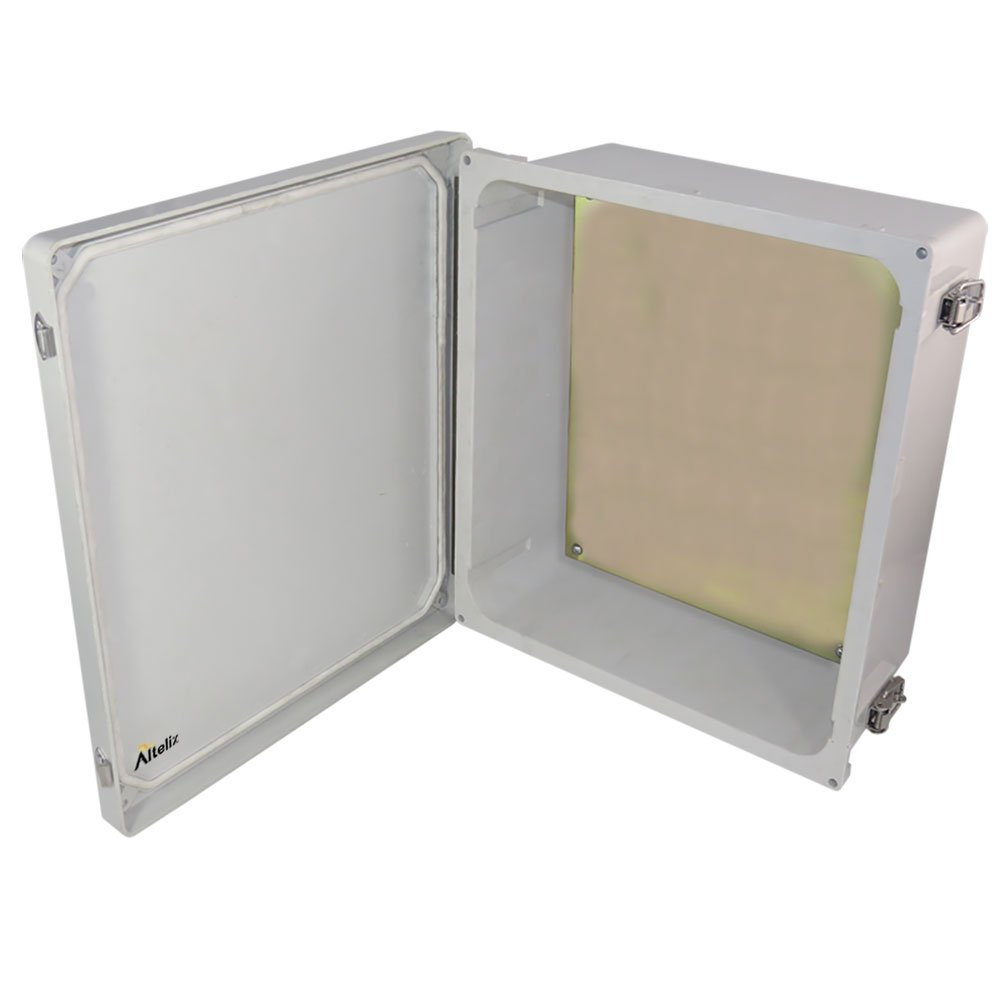Altelix 14x12x6 NEMA 4x FRP Fiberglass Weatherproof Enclosure with Aluminum Equipment Mounting Plate, Hinged Lid & Stainless Steel Latches by Altelix (Image #4)